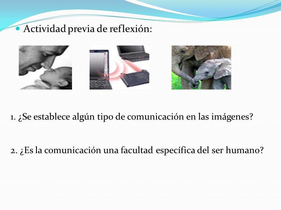 Actividad previa de reflexión: 1. ¿Se establece algún tipo de comunicación en las imágenes? 2. ¿Es la comunicación una facultad específica del ser hum