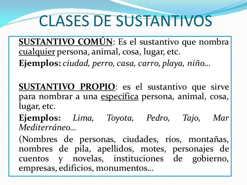 CLASES DE SUSTANTIVOS SUSTANTIVO COMÚN: Es el sustantivo que nombra cualquier persona, animal, cosa, lugar, etc. Ejemplos: ciudad, perro, casa, carro,