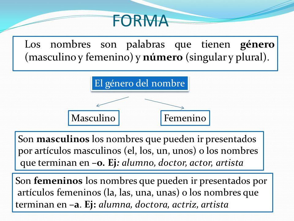 FORMA Los nombres son palabras que tienen género (masculino y femenino) y número (singular y plural). El género del nombre MasculinoFemenino Son mascu