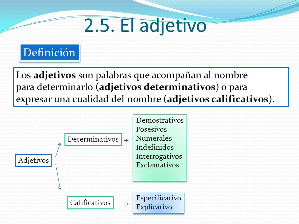 2.5. El adjetivo Definición Los adjetivos son palabras que acompañan al nombre para determinarlo (adjetivos determinativos) o para expresar una cualid