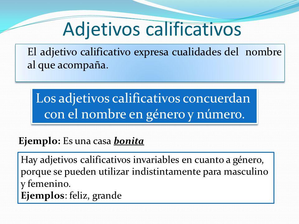Adjetivos calificativos El adjetivo calificativo expresa cualidades del nombre al que acompaña. Los adjetivos calificativos concuerdan con el nombre e