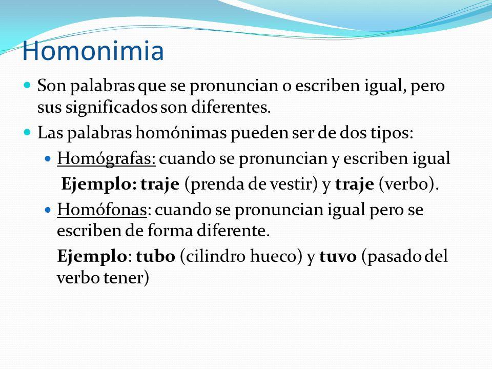 Homonimia Son palabras que se pronuncian o escriben igual, pero sus significados son diferentes. Las palabras homónimas pueden ser de dos tipos: Homóg