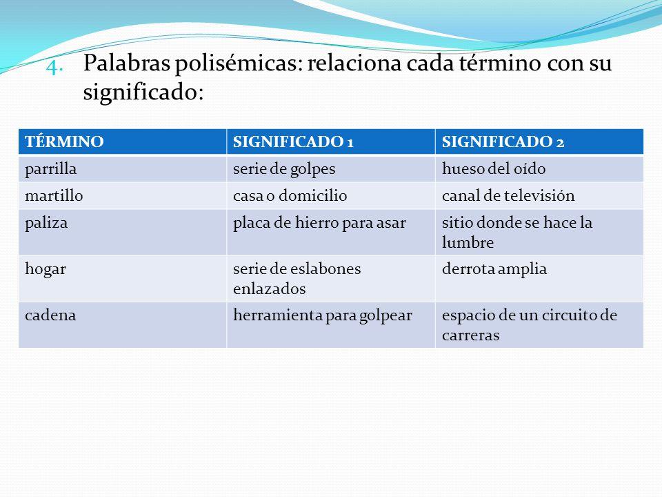 4. Palabras polisémicas: relaciona cada término con su significado: TÉRMINOSIGNIFICADO 1SIGNIFICADO 2 parrillaserie de golpeshueso del oído martilloca