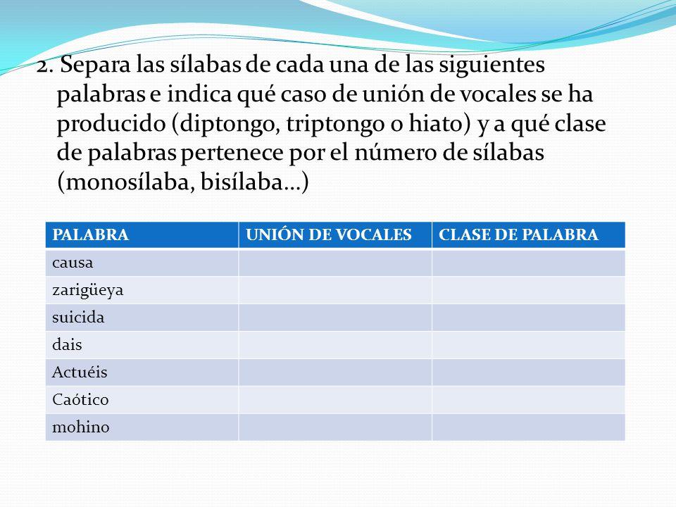 2. Separa las sílabas de cada una de las siguientes palabras e indica qué caso de unión de vocales se ha producido (diptongo, triptongo o hiato) y a q