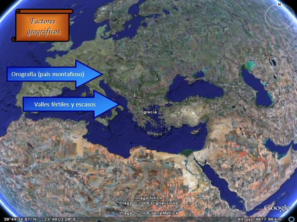 Factores geográficos geográficos Orografía (país montañoso) Valles fértiles y escasos