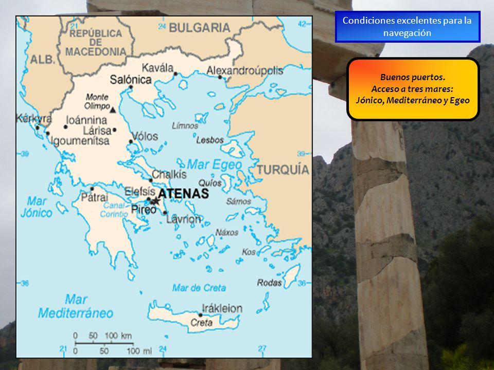 Buenos puertos. Acceso a tres mares: Jónico, Mediterráneo y Egeo Condiciones excelentes para la navegación