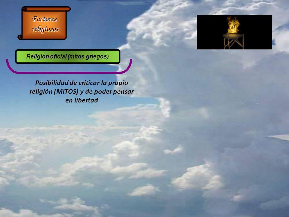 Posibilidad de criticar la propia religión (MITOS) y de poder pensar en libertad Factores religiosos religiosos Religión oficial (mitos griegos)
