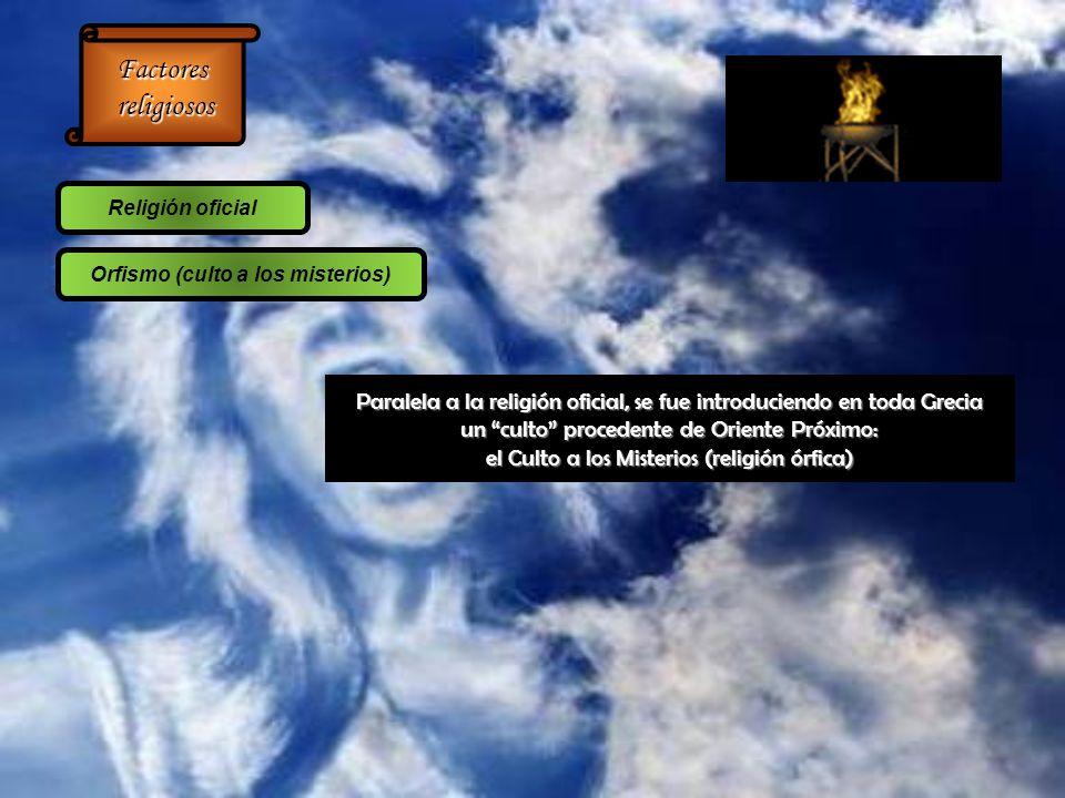Factores religiosos religiosos Religión oficial Orfismo (culto a los misterios) Paralela a la religión oficial, se fue introduciendo en toda Grecia un culto procedente de Oriente Próximo: el Culto a los Misterios (religión órfica)