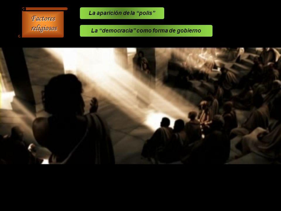 Factores religiosos religiosos La aparición de la polis La democracia como forma de gobierno