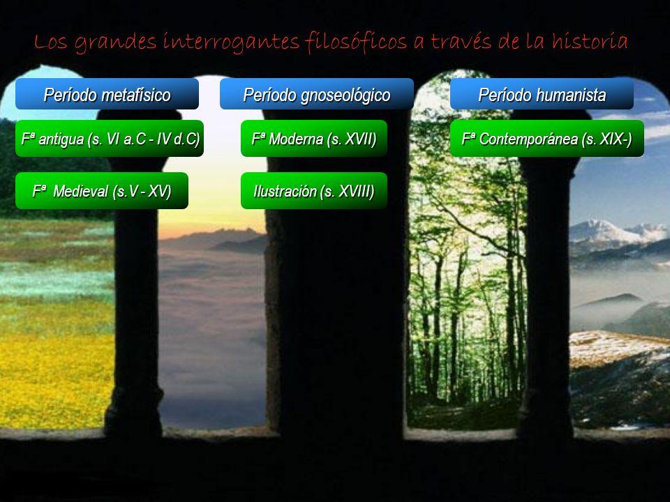 Los grandes interrogantes filosóficos a través de la historia Período metafísico Período gnoseológico Período humanista Fª antigua (s. VI a.C - IV d.C