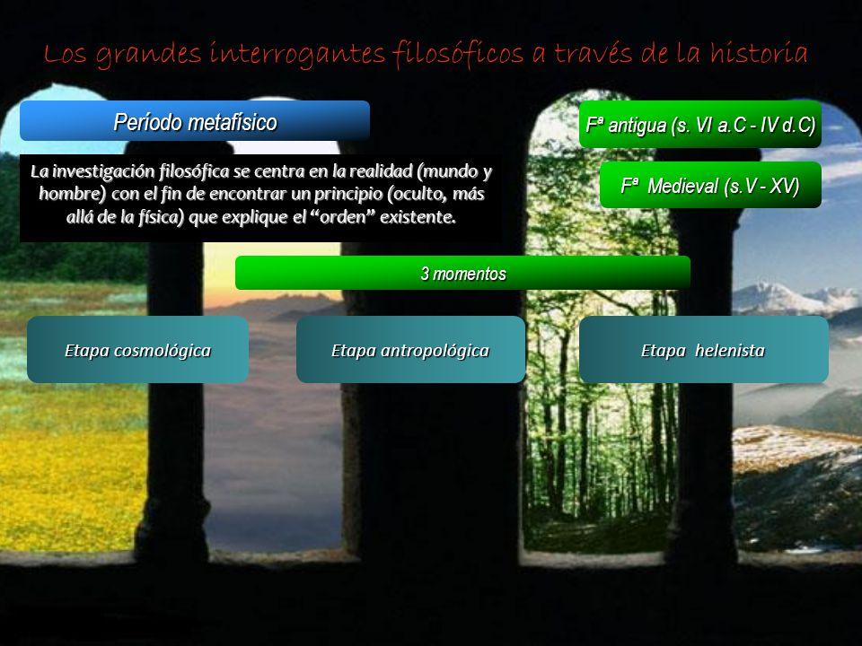 Los grandes interrogantes filosóficos a través de la historia Período metafísico Fª antigua (s. VI a.C - IV d.C) Fª Medieval (s.V - XV) La investigaci