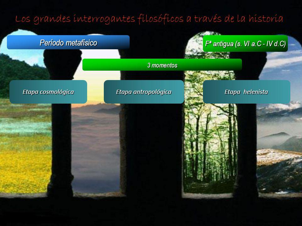 Los grandes interrogantes filosóficos a través de la historia Período metafísico Fª antigua (s. VI a.C - IV d.C) 3 momentos Etapa cosmológica Etapa an
