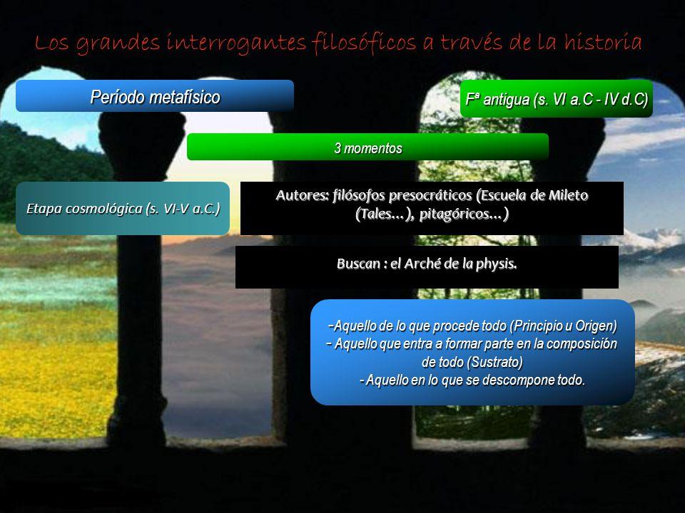Los grandes interrogantes filosóficos a través de la historia Período metafísico Fª antigua (s. VI a.C - IV d.C) 3 momentos Etapa cosmológica (s. VI-V