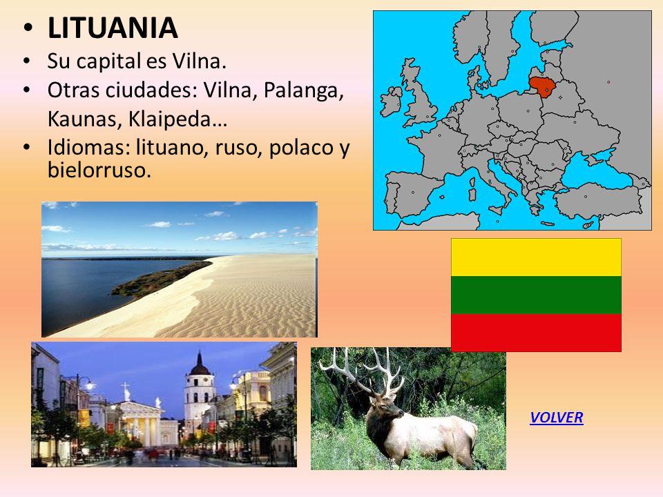 LITUANIA Su capital es Vilna. Otras ciudades: Vilna, Palanga, Kaunas, Klaipeda… Idiomas: lituano, ruso, polaco y bielorruso. VOLVER