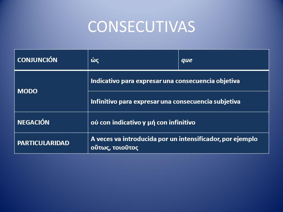 CONSECUTIVAS CONJUNCIÓNςque MODO Indicativo para expresar una consecuencia objetiva Infinitivo para expresar una consecuencia subjetiva NEGACIÓNο con indicativo y μ con infinitivo PARTICULARIDAD A veces va introducida por un intensificador, por ejemplo οτως, τοιοτος