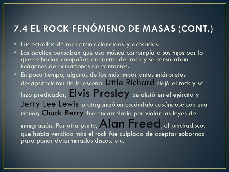 En 1955 el rock se convierte en un fenómeno de masas. Su difusión se debe a los medios de comunicación social: TELEVISIÓN CINE RADIO