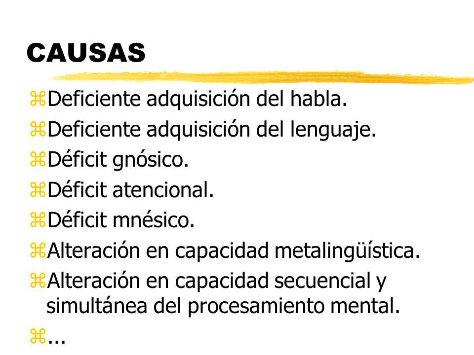 CAUSAS zDeficiente adquisición del habla. zDeficiente adquisición del lenguaje. zDéficit gnósico. zDéficit atencional. zDéficit mnésico. zAlteración e