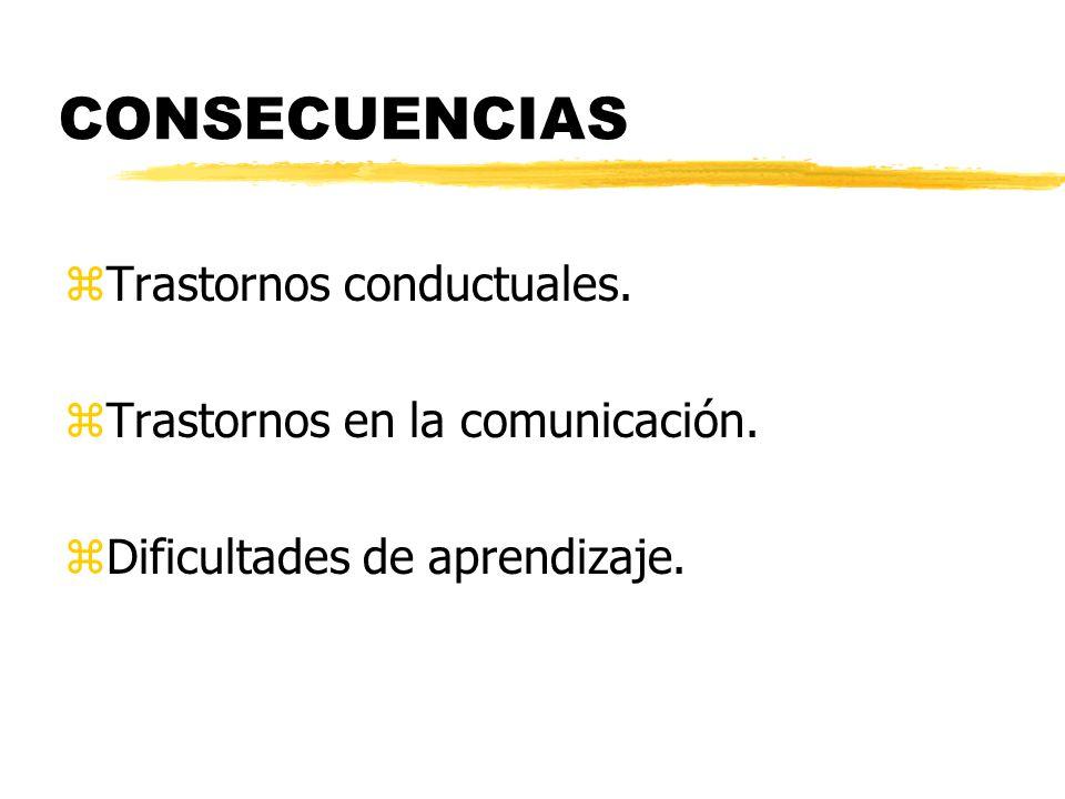 CONSECUENCIAS zTrastornos conductuales. zTrastornos en la comunicación. zDificultades de aprendizaje.
