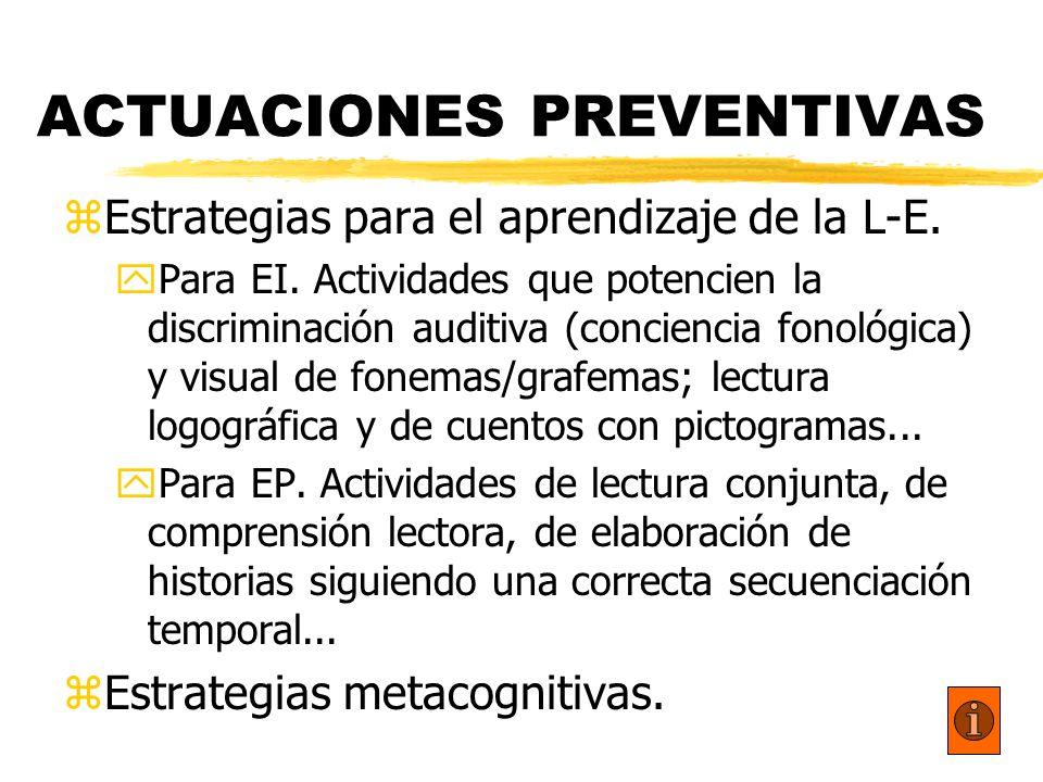 ACTUACIONES PREVENTIVAS zEstrategias para el aprendizaje de la L-E. yPara EI. Actividades que potencien la discriminación auditiva (conciencia fonológ