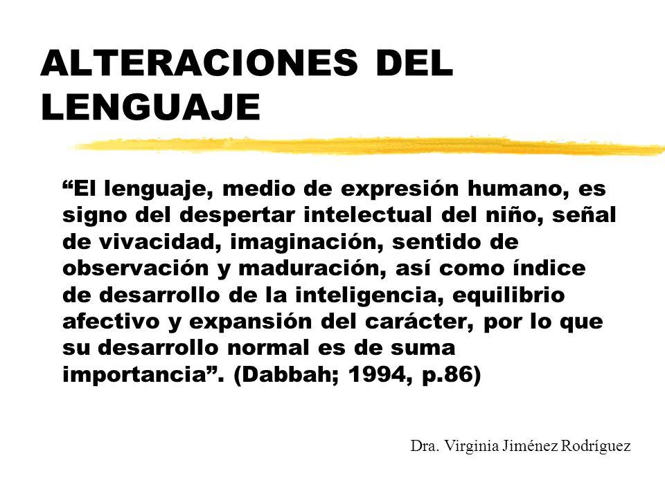 ALTERACIONES DEL LENGUAJE El lenguaje, medio de expresión humano, es signo del despertar intelectual del niño, señal de vivacidad, imaginación, sentid