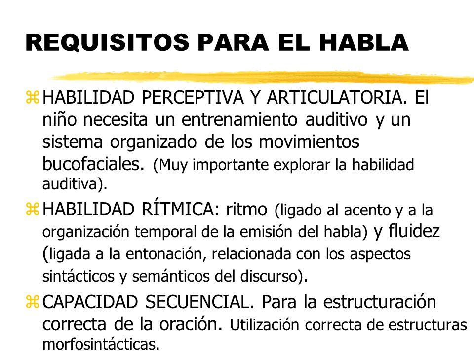 REQUISITOS PARA EL HABLA zHABILIDAD PERCEPTIVA Y ARTICULATORIA. El niño necesita un entrenamiento auditivo y un sistema organizado de los movimientos