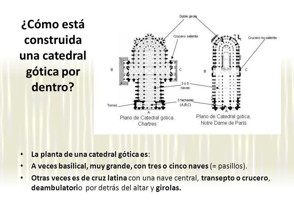 ¿Cómo está construida una catedral gótica por dentro? La planta de una catedral gótica es: A veces basilical, muy grande, con tres o cinco naves (= pa