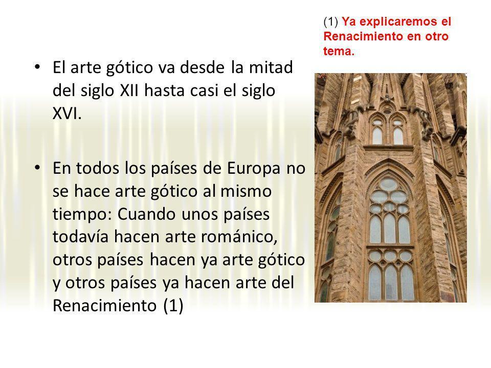 El arte gótico va desde la mitad del siglo XII hasta casi el siglo XVI. En todos los países de Europa no se hace arte gótico al mismo tiempo: Cuando u