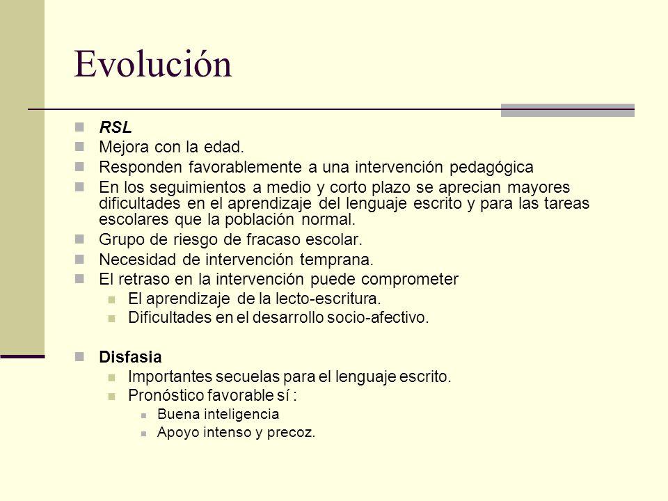 Evolución RSL Mejora con la edad. Responden favorablemente a una intervención pedagógica En los seguimientos a medio y corto plazo se aprecian mayores