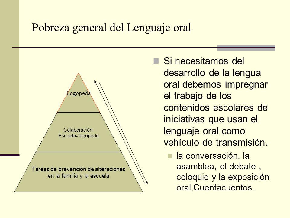 Pobreza general del Lenguaje oral Si necesitamos del desarrollo de la lengua oral debemos impregnar el trabajo de los contenidos escolares de iniciati
