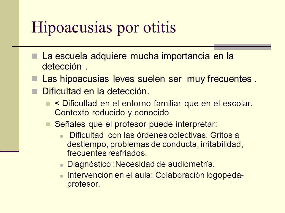 Hipoacusias por otitis La escuela adquiere mucha importancia en la detección. Las hipoacusias leves suelen ser muy frecuentes. Dificultad en la detecc