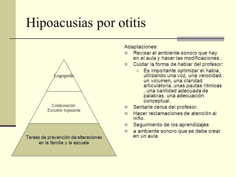 Hipoacusias por otitis Adaptaciones: Revisar el ambiente sonoro que hay en el aula y hacer las modificaciones. Cuidar la forma de hablar del profesor: