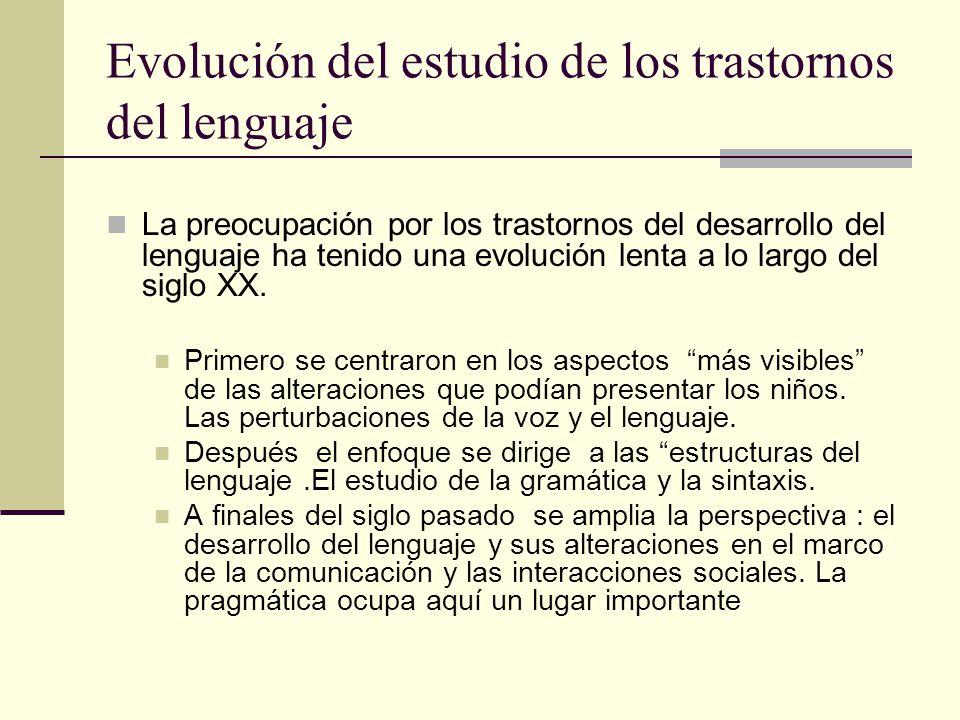 Evolución del estudio de los trastornos del lenguaje La preocupación por los trastornos del desarrollo del lenguaje ha tenido una evolución lenta a lo