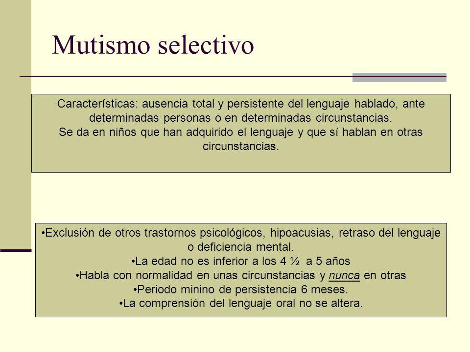 Mutismo selectivo Características: ausencia total y persistente del lenguaje hablado, ante determinadas personas o en determinadas circunstancias. Se