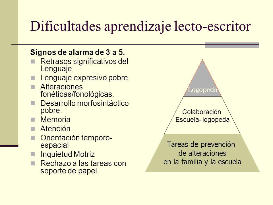 Dificultades aprendizaje lecto-escritor Signos de alarma de 3 a 5. Retrasos significativos del Lenguaje. Lenguaje expresivo pobre. Alteraciones fonéti