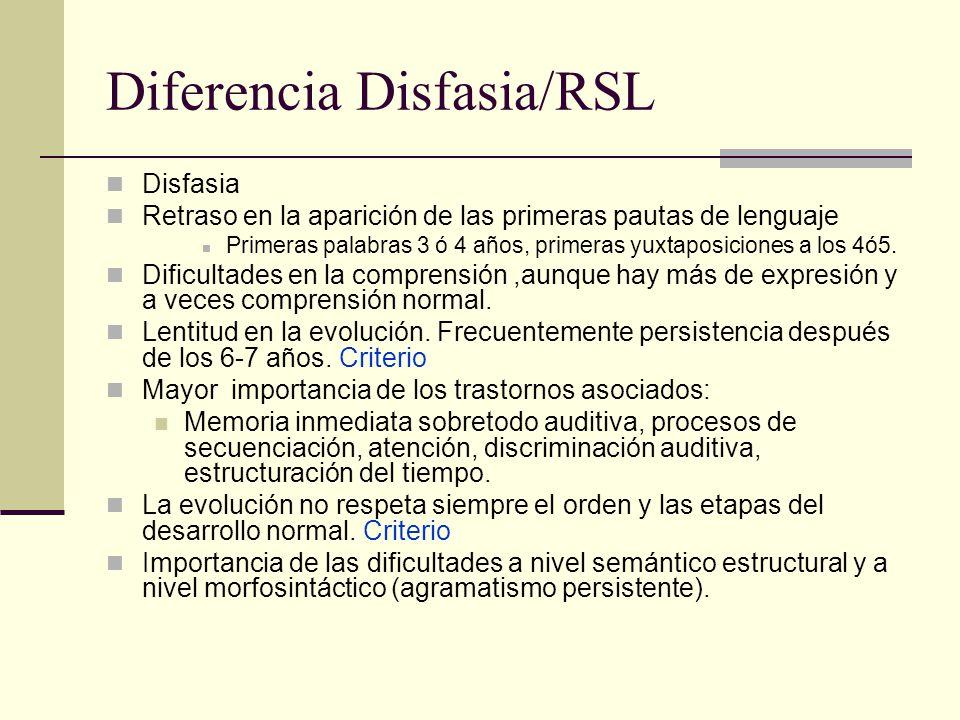 Diferencia Disfasia/RSL Disfasia Retraso en la aparición de las primeras pautas de lenguaje Primeras palabras 3 ó 4 años, primeras yuxtaposiciones a l