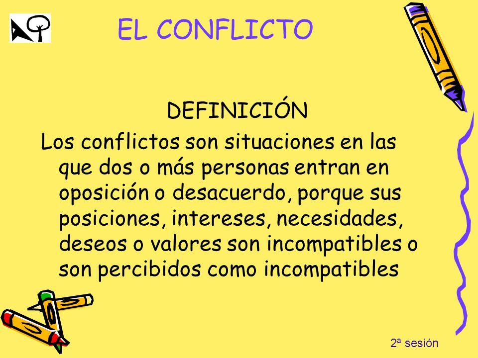 EL CONFLICTO DEFINICIÓN Los conflictos son situaciones en las que dos o más personas entran en oposición o desacuerdo, porque sus posiciones, interese