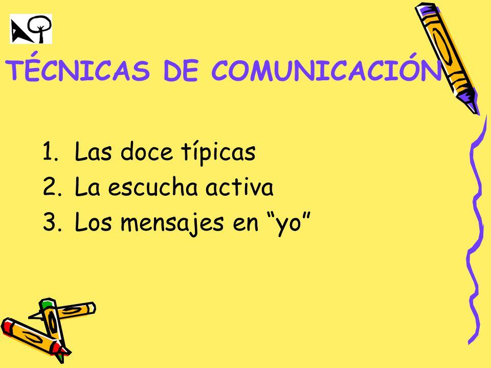 TÉCNICAS DE COMUNICACIÓN 1.Las doce típicas 2.La escucha activa 3.Los mensajes en yo