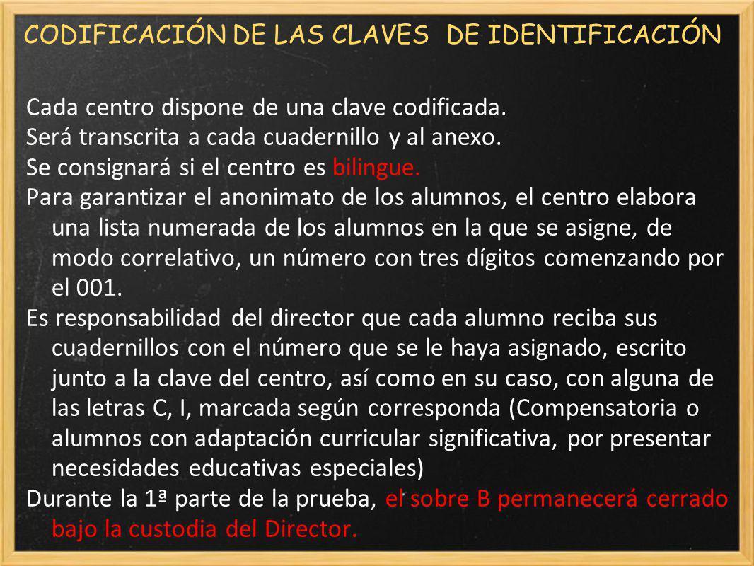 CODIFICACIÓN DE LAS CLAVES DE IDENTIFICACIÓN Cada centro dispone de una clave codificada.