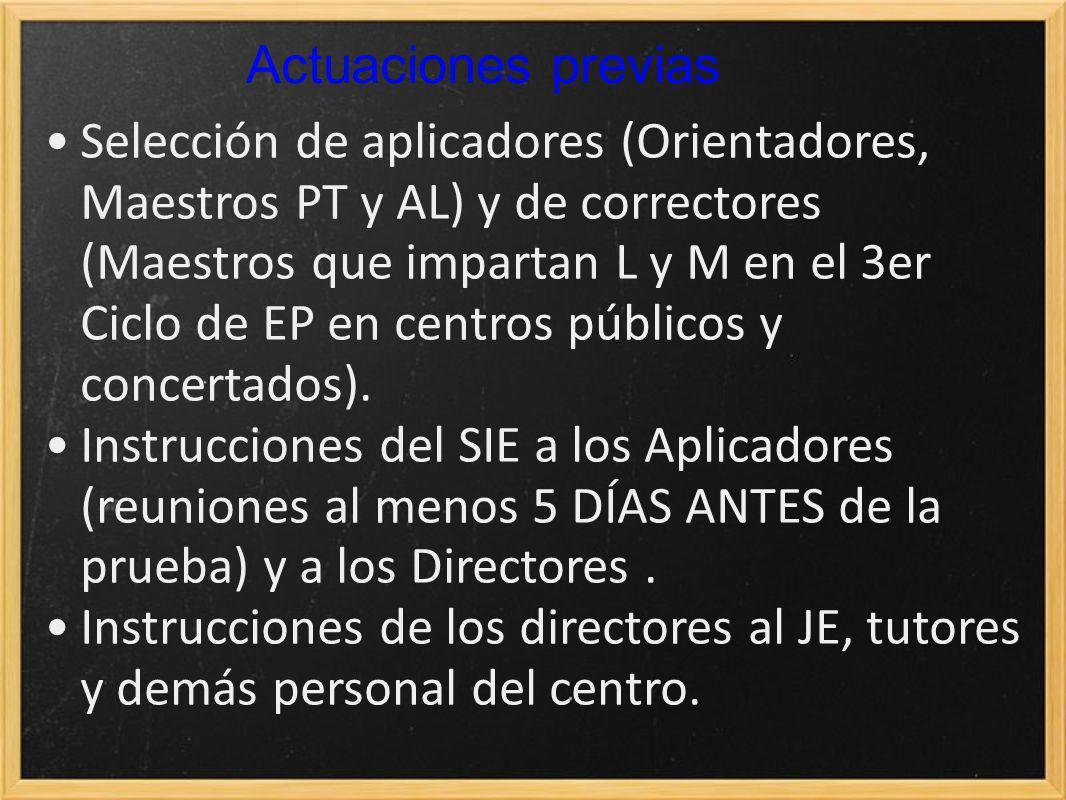 Actuaciones previas Selección de aplicadores (Orientadores, Maestros PT y AL) y de correctores (Maestros que impartan L y M en el 3er Ciclo de EP en centros públicos y concertados).