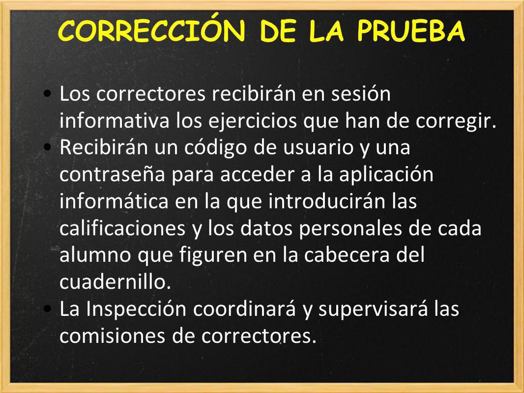CORRECCIÓN DE LA PRUEBA Los correctores recibirán en sesión informativa los ejercicios que han de corregir.