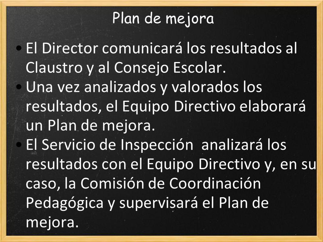 Plan de mejora El Director comunicará los resultados al Claustro y al Consejo Escolar.