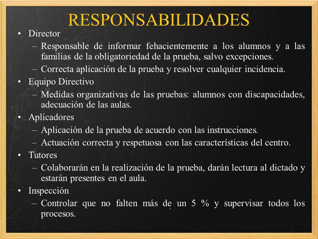 RESPONSABILIDADES Director –Responsable de informar fehacientemente a los alumnos y a las familias de la obligatoriedad de la prueba, salvo excepciones.