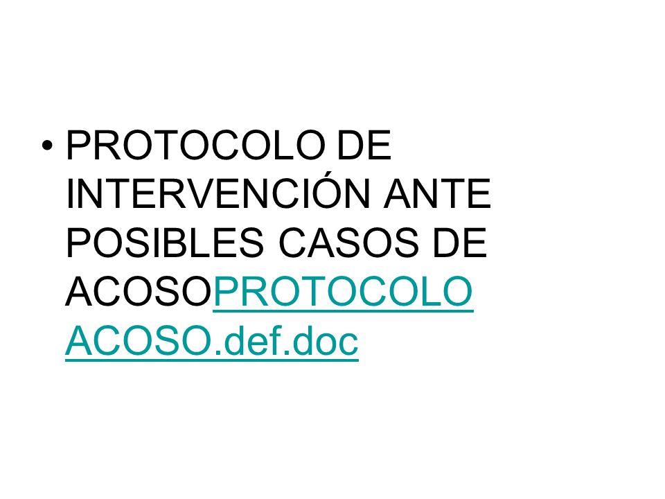 PROTOCOLO DE INTERVENCIÓN ANTE POSIBLES CASOS DE ACOSOPROTOCOLO ACOSO.def.docPROTOCOLO ACOSO.def.doc