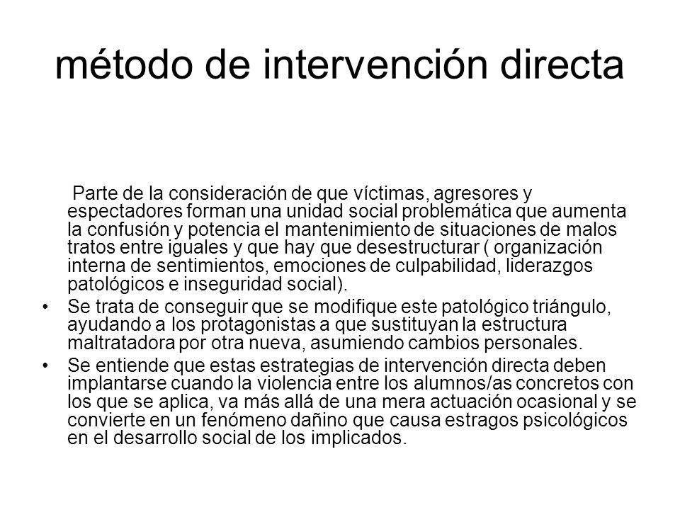 método de intervención directa Parte de la consideración de que víctimas, agresores y espectadores forman una unidad social problemática que aumenta l