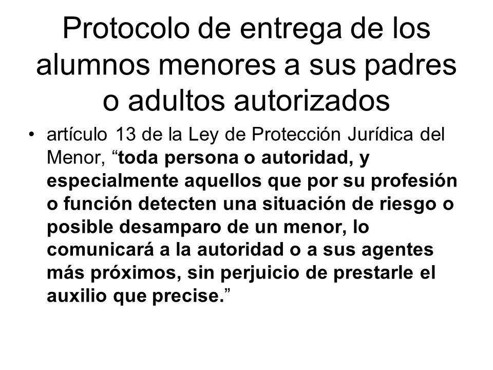 Protocolo de entrega de los alumnos menores a sus padres o adultos autorizados artículo 13 de la Ley de Protección Jurídica del Menor, toda persona o