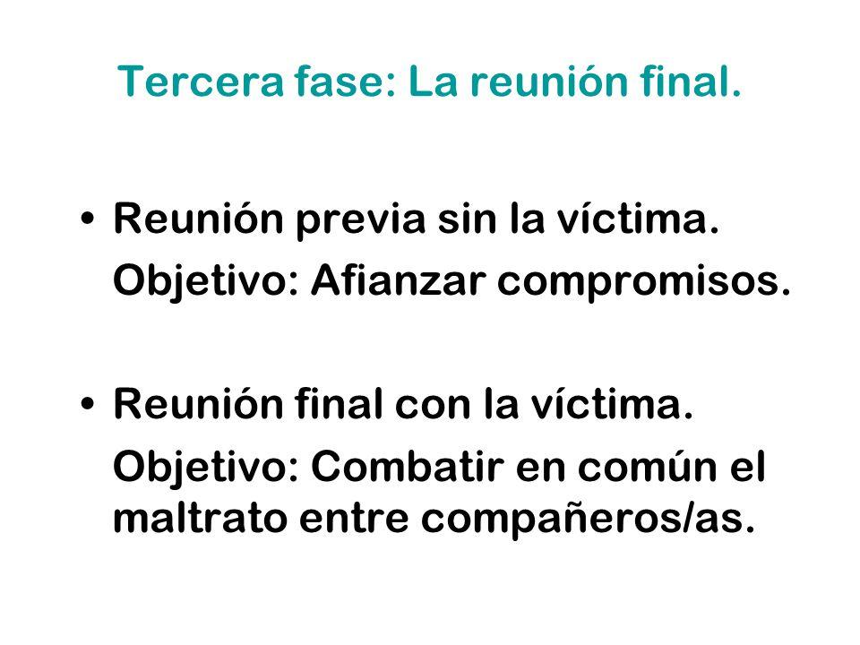 Tercera fase: La reunión final. Reunión previa sin la víctima. Objetivo: Afianzar compromisos. Reunión final con la víctima. Objetivo: Combatir en com