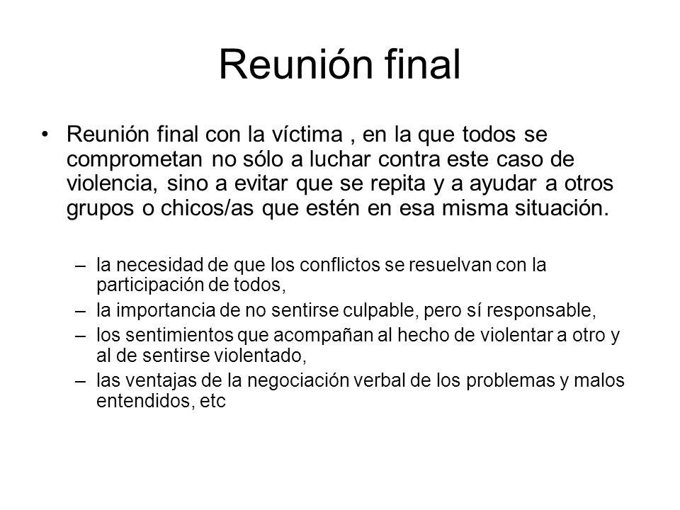 Reunión final Reunión final con la víctima, en la que todos se comprometan no sólo a luchar contra este caso de violencia, sino a evitar que se repita