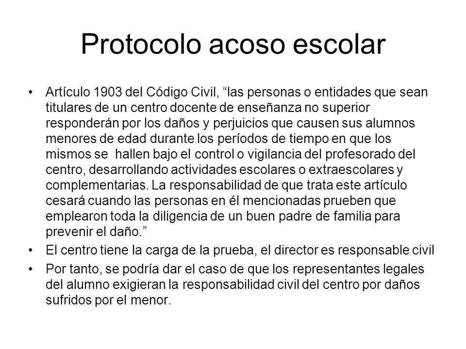 Protocolo acoso escolar Artículo 1903 del Código Civil, las personas o entidades que sean titulares de un centro docente de enseñanza no superior resp