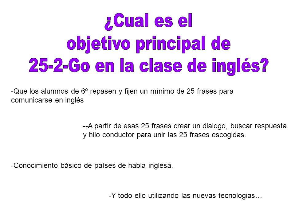 -Que los alumnos de 6º repasen y fijen un mínimo de 25 frases para comunicarse en inglés --A partir de esas 25 frases crear un dialogo, buscar respuesta y hilo conductor para unir las 25 frases escogidas.