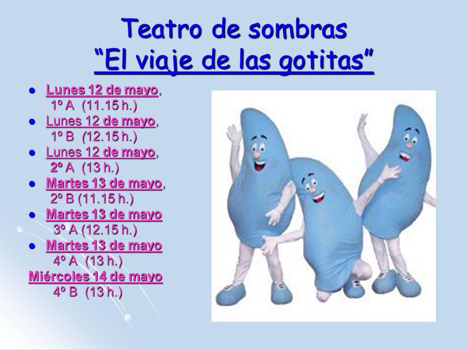 Teatro de sombras El viaje de las gotitas Lunes 12 de mayo, Lunes 12 de mayo, 1º A (11.15 h.) 1º A (11.15 h.) Lunes 12 de mayo, Lunes 12 de mayo, 1º B (12.15 h.) 1º B (12.15 h.) Lunes 12 de mayo, Lunes 12 de mayo, 2º A (13 h.) 2º A (13 h.) Martes 13 de mayo, Martes 13 de mayo, 2º B (11.15 h.) 2º B (11.15 h.) Martes 13 de mayo Martes 13 de mayo 3º A (12.15 h.) 3º A (12.15 h.) Martes 13 de mayo Martes 13 de mayo 4º A (13 h.) 4º A (13 h.) Miércoles 14 de mayo 4º B (13 h.) 4º B (13 h.)